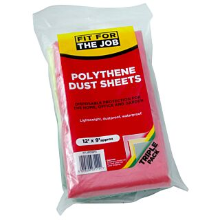 Fit For The Job Poly Dust Sheet - 3 Pack
